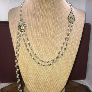 Heidi Daus vintage faux pearl and gold necklace